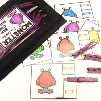 Clip Cards: Monster Theme ~ Colors and Color Words