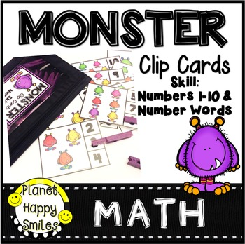 Clip Cards: Monster Theme ~ Numbers and Number Words (1-10)