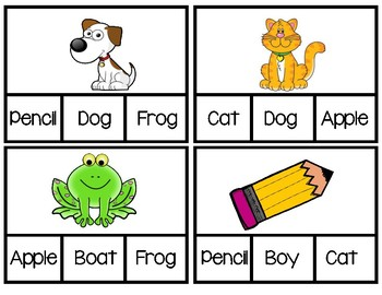 Clip Cards: Picture to Words ASD