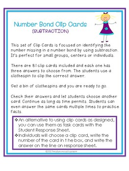 Clip Cards: SUBTRACTION NUMBER BONDS