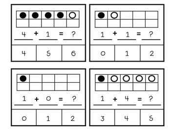 Clip Cards Ten Frames Addition - Kindergarten Math