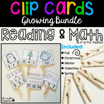 Clip Cards for Reading and Math Bundle