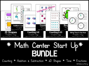 Clip Centers - Math Center Bundle - Counting - Shape - Time - Add & Subtract