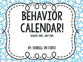 Clip Chart Behavior Calendar Freebie 2015-2016