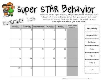 Clip Chart Behavior Calendar - Hollywood Theme