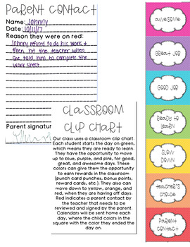 Clip Chart, Behavior Calendar, & Parent Contact Forms