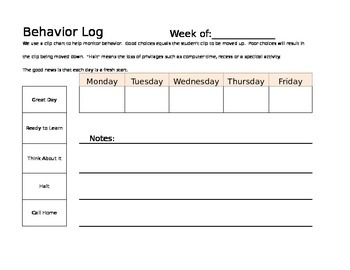 Clip Chart Behavior Log
