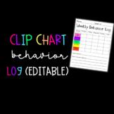Weekly Clip Chart Behavior Log (Editable)