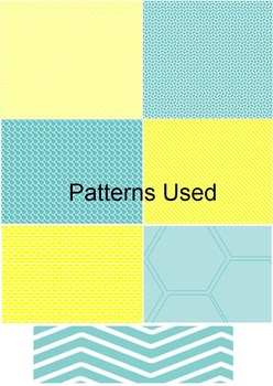 Clip Chart Behavior Management- Bright Teal and Yellow Patterns