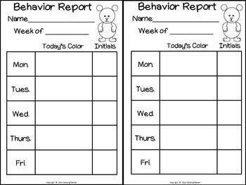 Discipline Clip Chart for Behavior Management Brown Bear Brown Bear Theme