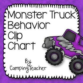 Discipline Clip Chart for Behavior Management Monster Truck Style