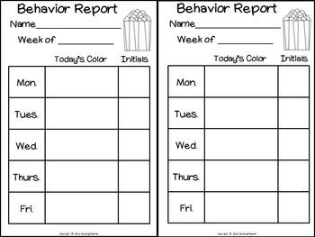 Discipline Clip Chart for Behavior Management Movie Theme