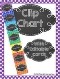 Clip Chart Behavior Management Primary Polka Dots and Chalk (Editable)