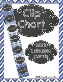 Clip Chart Behavior Management Blue Patterns and Chalk (Editable)