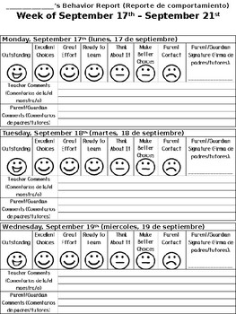 Clip Chart Behavior Report - English and Spanish