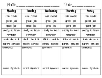 Clip Chart Behavior Sheet- modified