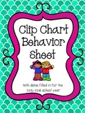 Clip Chart Behavior Sheets 2015-2016 school year