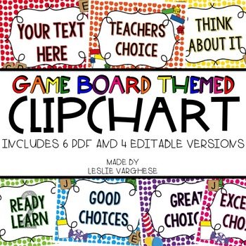 Editable Clip Chart { Board Game Themed}