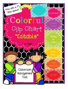 Clip Chart ~ EDITABLE!~ Colorful Classroom Management