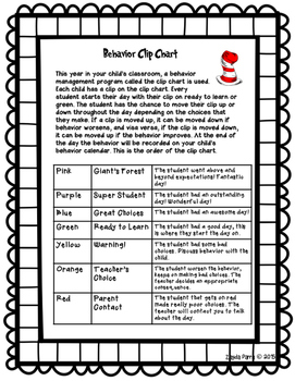 Clip Chart Letter to Parents - {Giant's Forest}