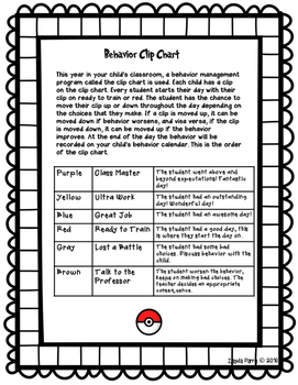 Clip Chart Letter to Parents - Pokemon Go Inspired!