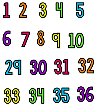 Clip Chart Numbers {Bright Version}