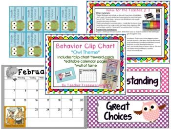 Clip Chart ~ Owls & Polka dots ~ +behavior cards & forms &
