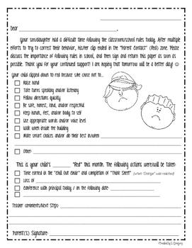 Clip Chart Parent Contact Letter