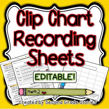 Clip Chart Recording Sheets ~ (editable)