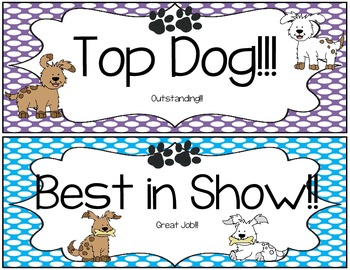 Clip Chart Signs {Polka Dots and Paws}