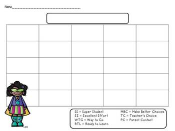 Clip Chart ~ Superhero Theme (editable)