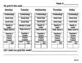 Clip Chart Weekly Behavior Sheet with Goal Setting