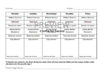 Clip Chart Weekly Communication Sheet