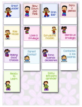 Clip Charts in Spanish and English with reports, parent info, posters, awards...
