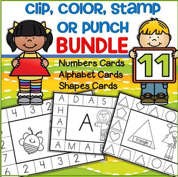 Numbers Alphabet Upper & Lower Shapes Cards - Clip Color Stamp Punch BUNDLE