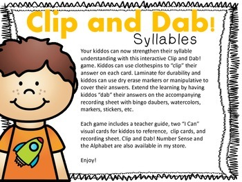Clip and Dab! Syllables {An Interactive FREEBIE!}
