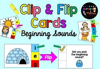 Clip & Flip Cards ~ Beginning Sounds Center Activity ~ FREEBIE
