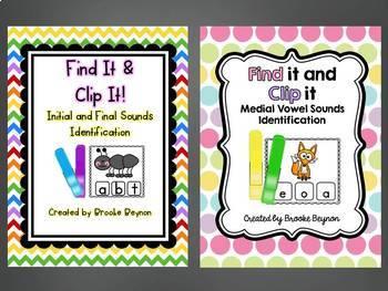 Clip It Bundle - Initial/Ending Sounds AND Medial Vowel Sounds