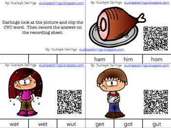 Clip It Cards CVC Words with QR Codes