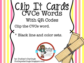 Clip It Cards CVCe Words with QR Codes