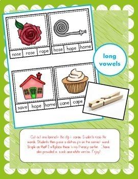 BUNDLE! Clip It Cards Literacy Centers (CVC Words, Alphabet, Long Vowels & More)