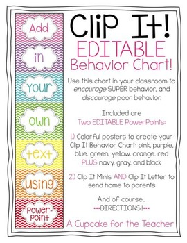 Clip It! EDITABLE Behavior Chart!
