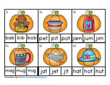 Clip It Pumpkin CVC Words