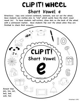Clip It! Short Vowels a e i o u Word Work Activity
