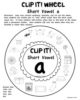 Clip It! Short Vowels a e i o u Word Work Activity