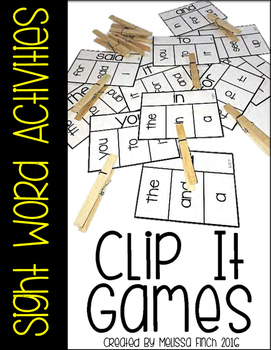 Clip It Sight Word Activities- For Special Education