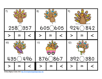 Clip It Thanksgiving Comparing Numbers to 1,000