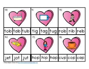 Clip It Valentine's Day CVC Words