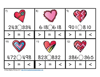 Clip It Valentine's Day Comparing Numbers to 1,000