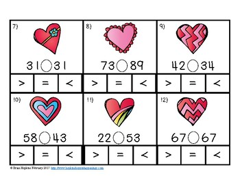Clip It Valentine's Day Comparing Numbers to 120